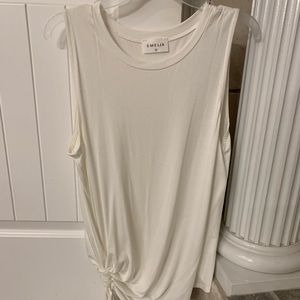 Tops - White long tank; synchs at side